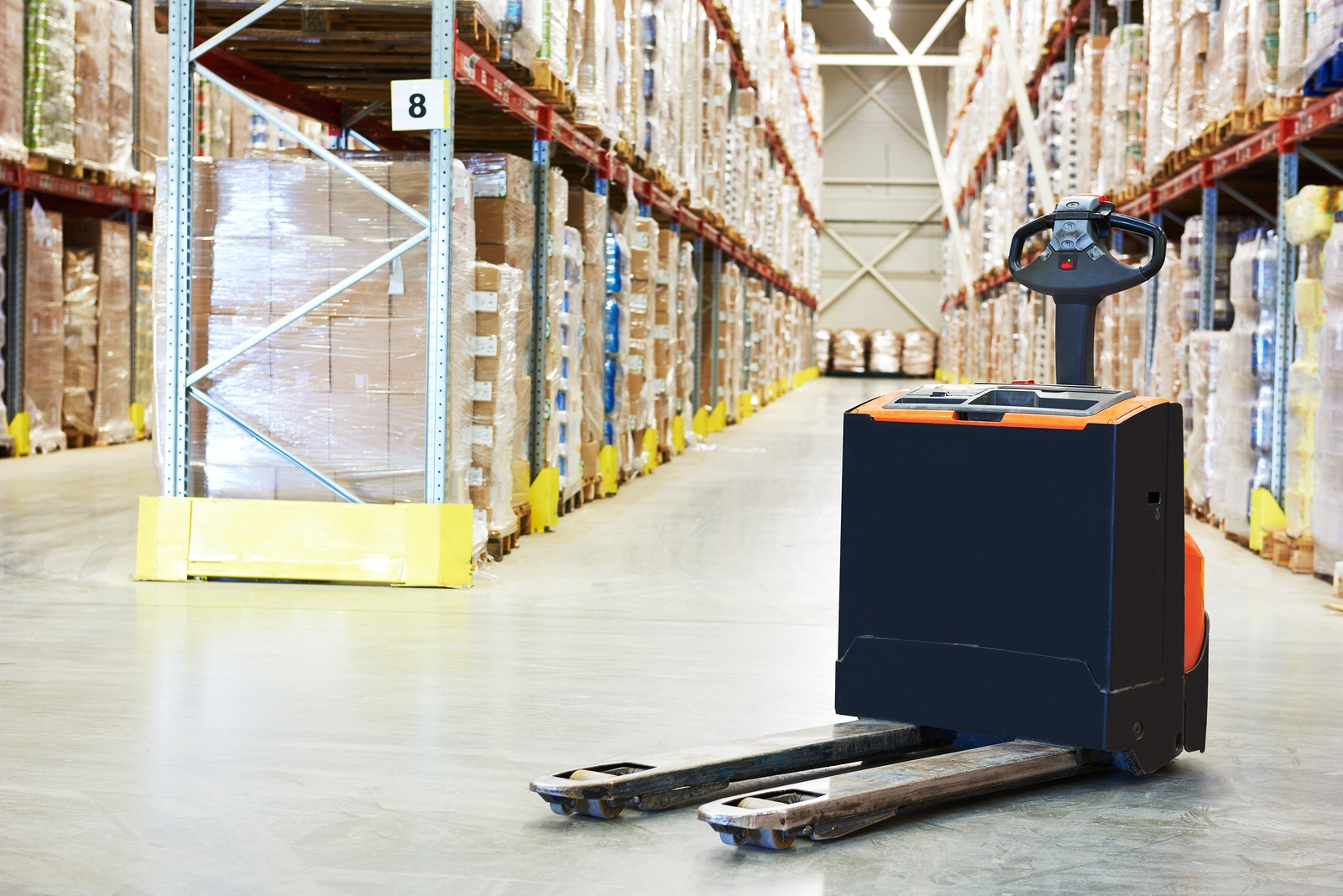pallet truck in a warehouse
